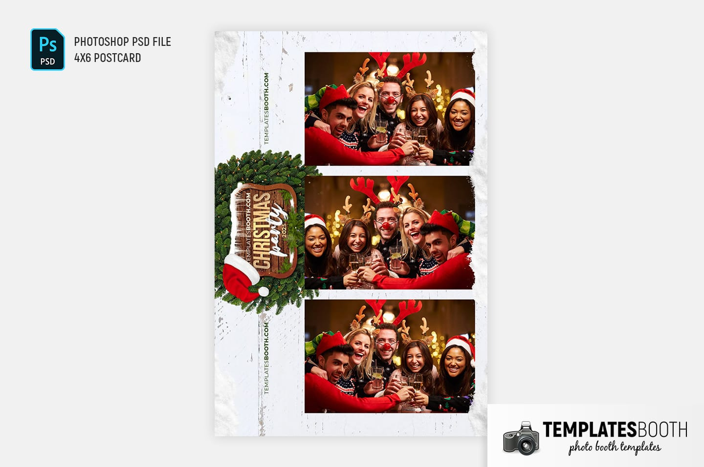 Festive Christmas Photo Booth Template (4x6 postcard)