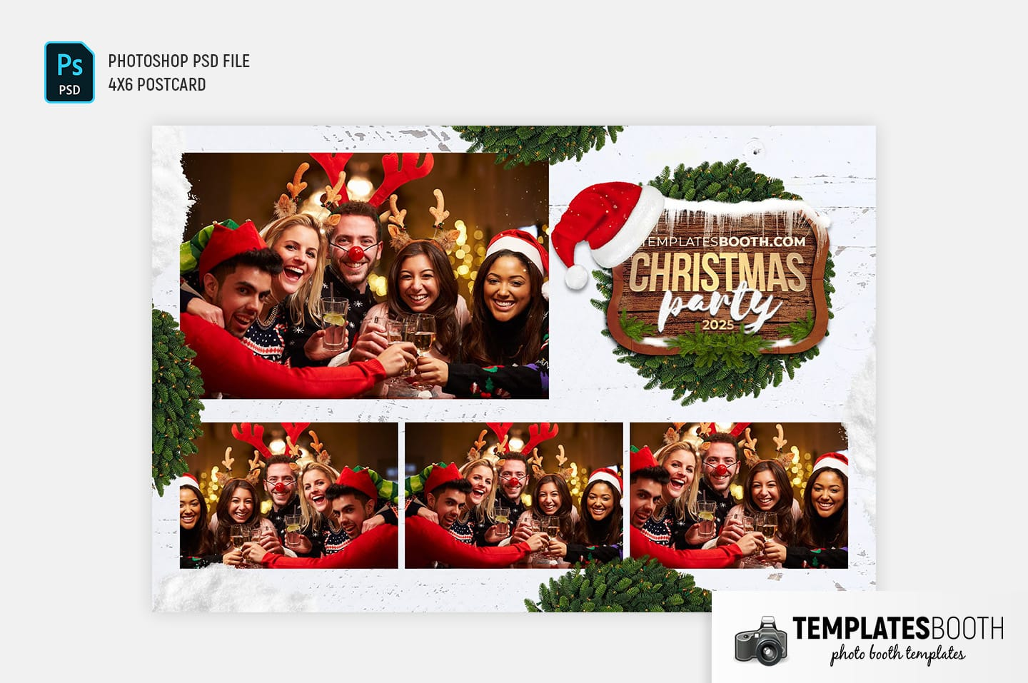 Festive Christmas Photo Booth Template (4x6 postcard landscape)