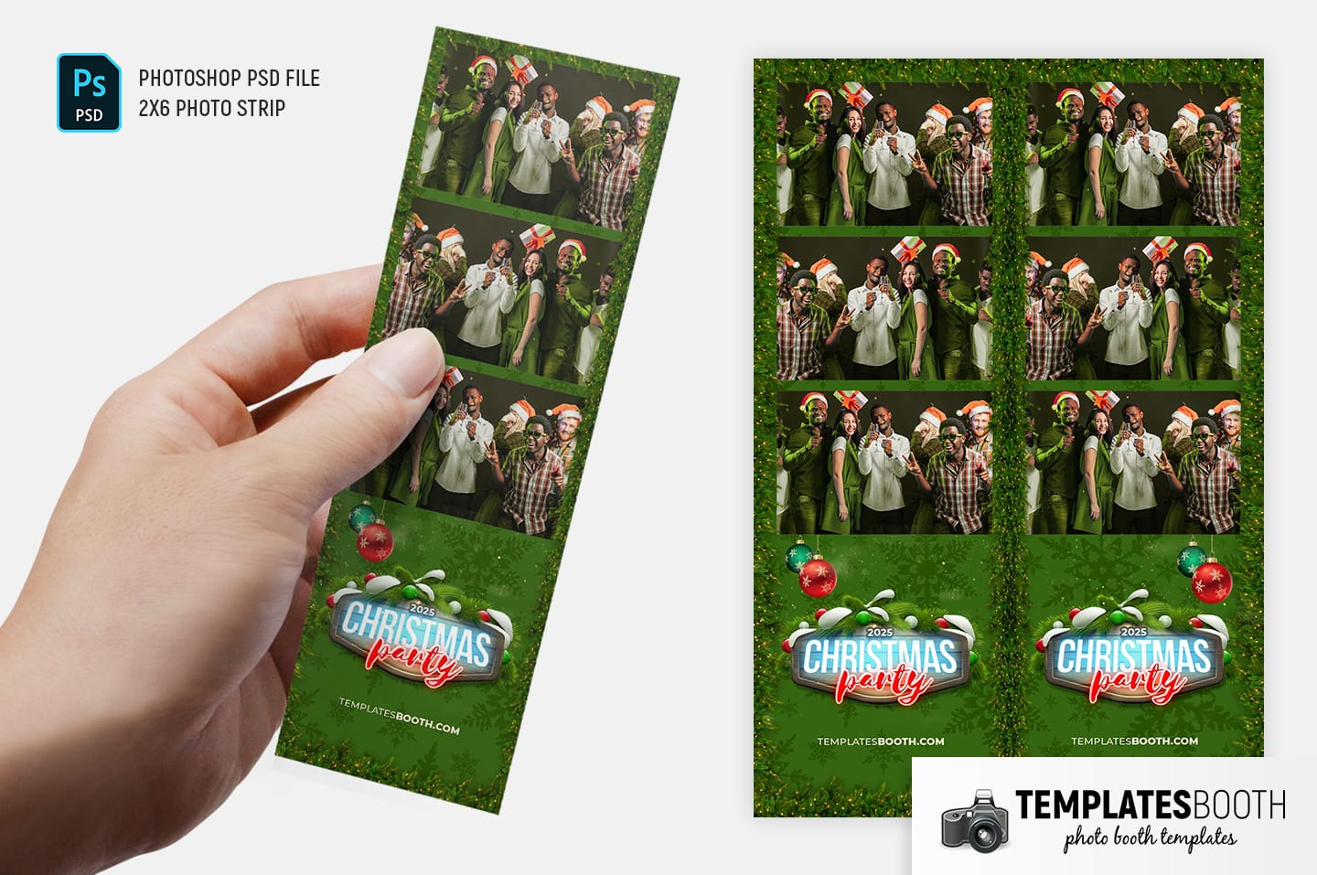 Green Christmas Photo Booth Template (2x6 photo strip)