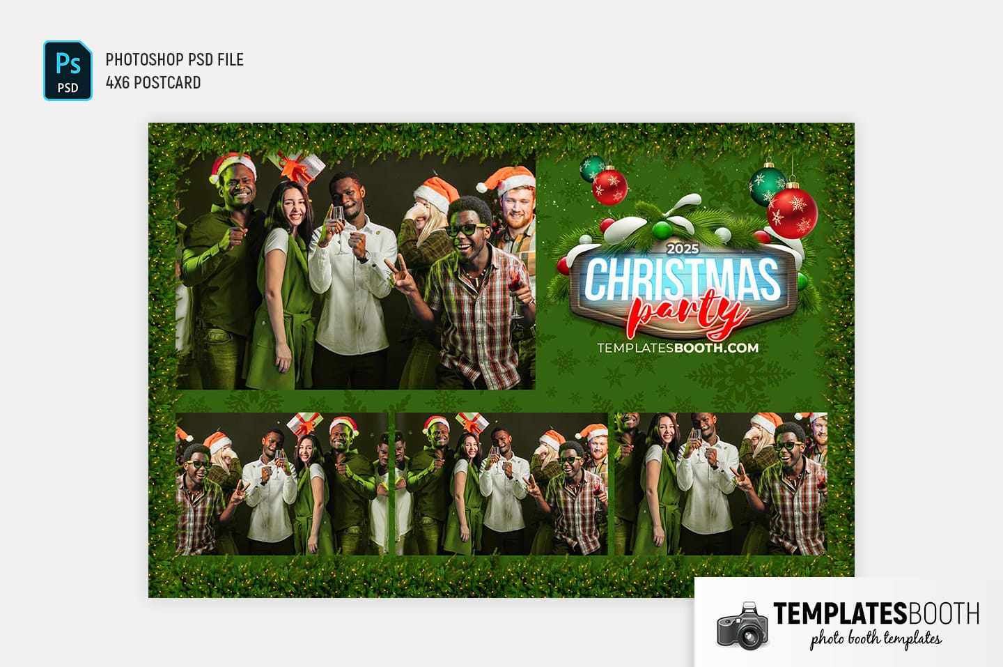Green Christmas Photo Booth Template (4x6 postcard landscape)