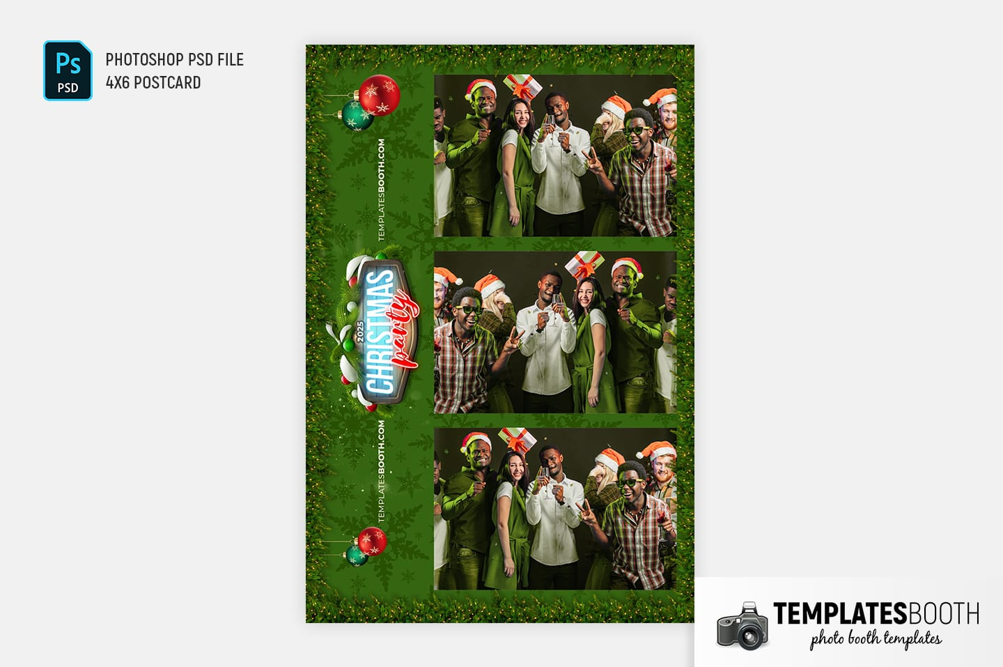 Green Christmas Photo Booth Template (4x6 postcard portrait)