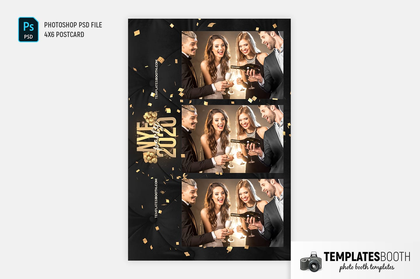 New Year's Eve Photo Booth Template (4x6 postcard)