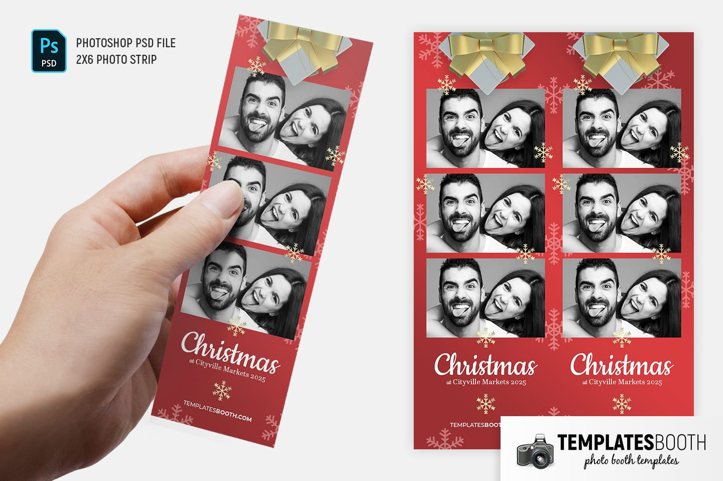 Christmas Gift Photo Booth Template (2x6 photo strip)