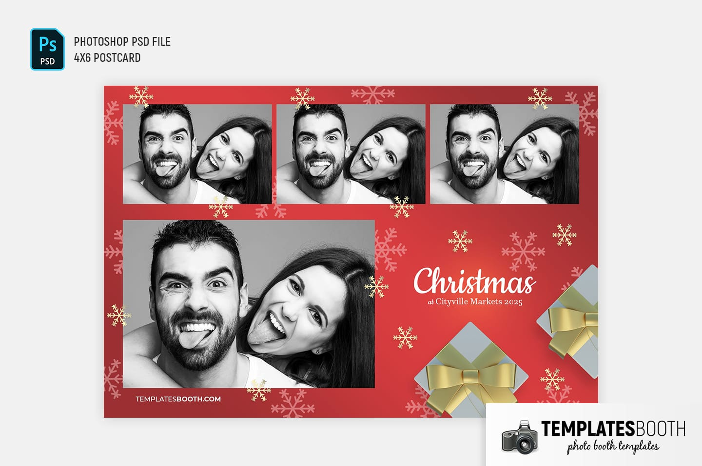 Christmas Gift Photo Booth Template (4x6 postcard)