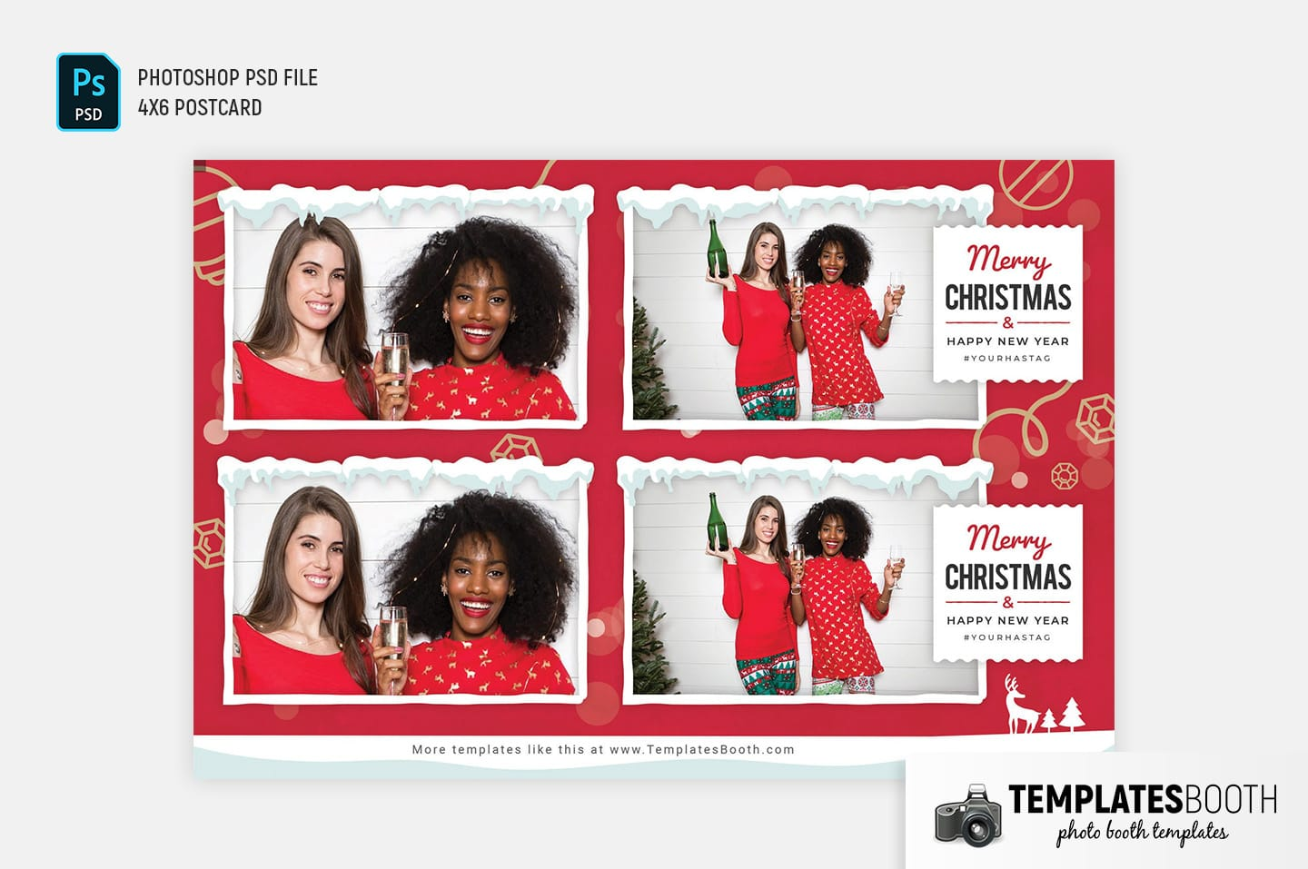 Merry Christmas Photo Booth Template (4x6 postcard)