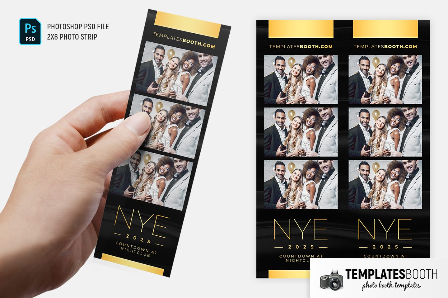 New Year's Eve Photo Booth Template (2x6 photo strip)