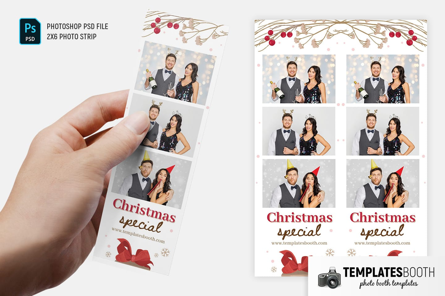 Rustic Christmas Photo Booth Template (2x6 photo strip)