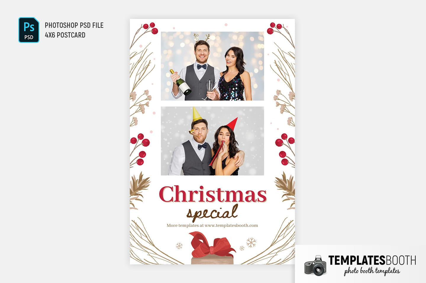 Rustic Christmas Photo Booth Template (4x6 postcard)