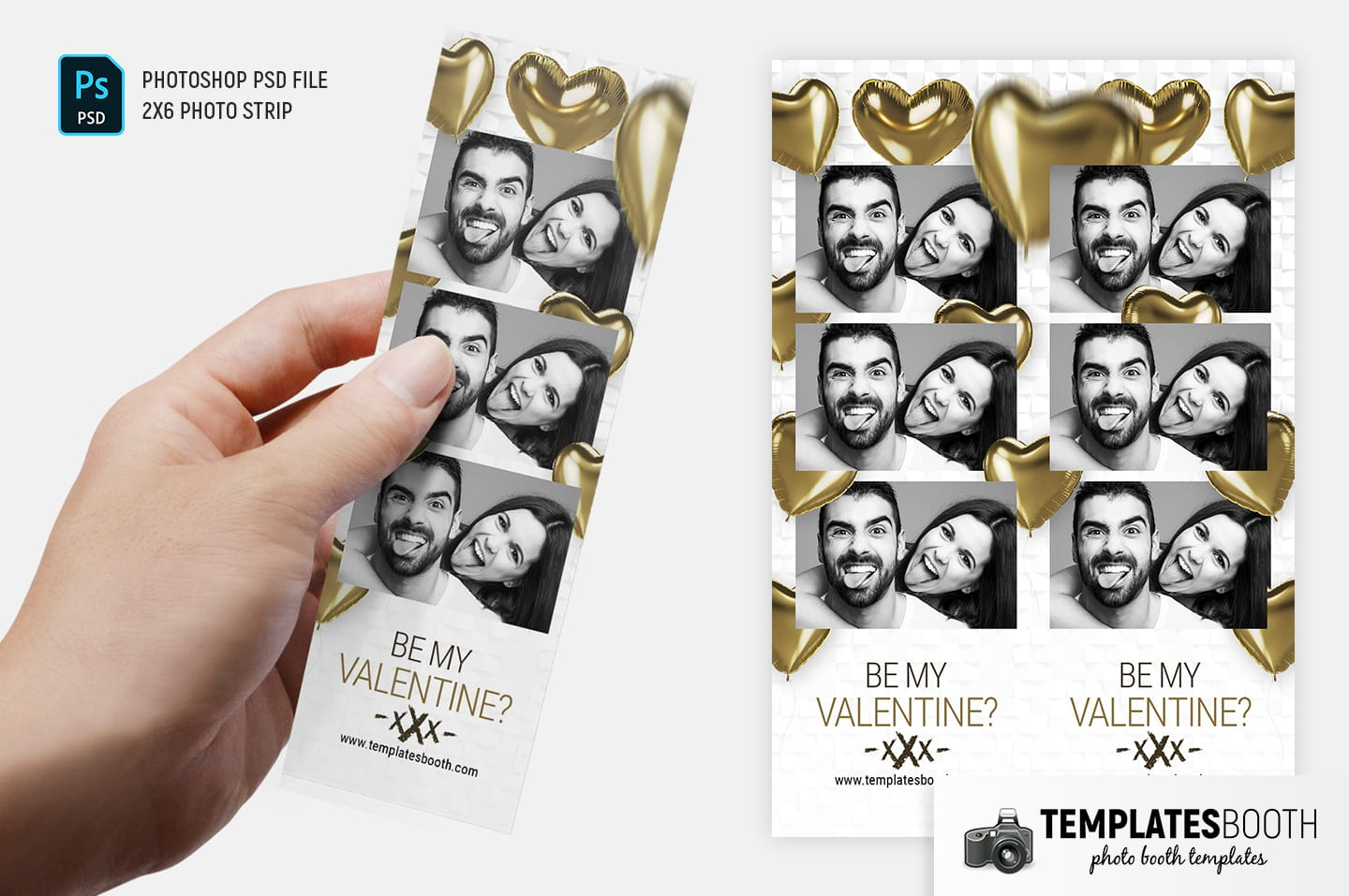 Be My Valentine Photo Booth Template (2x6 photo strip)