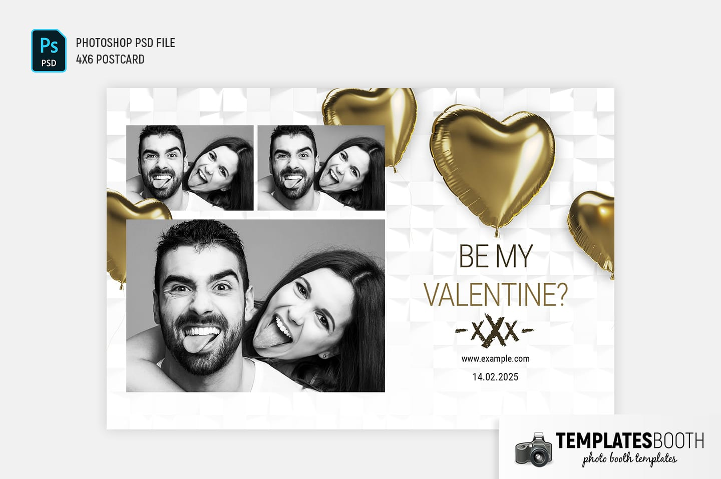 Be My Valentine Photo Booth Template (4x6 landscape)