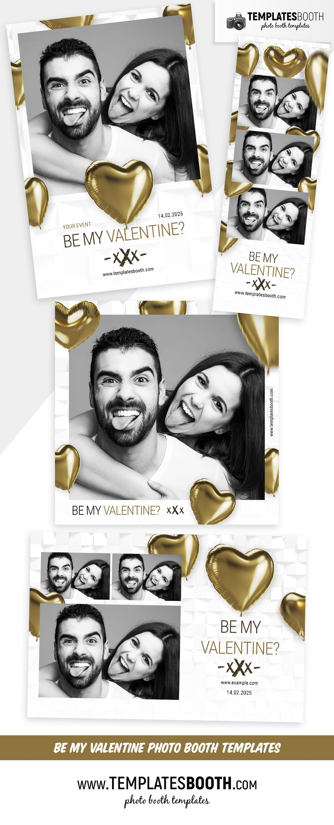 Be My Valentine Photo Booth Template (full preview)