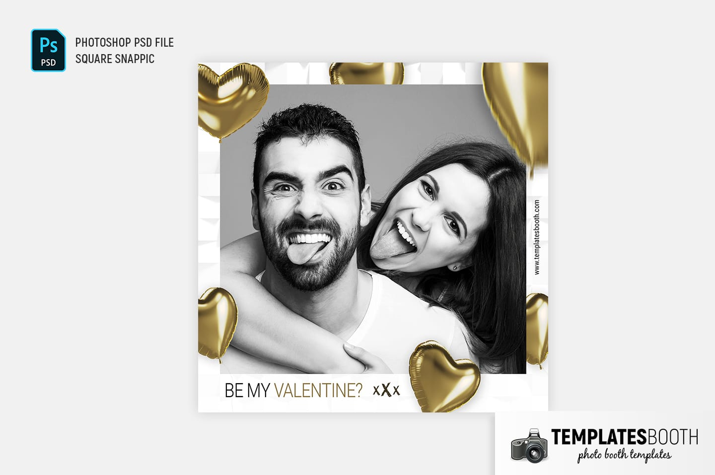 Be My Valentine Photo Booth Template (square Snappic)