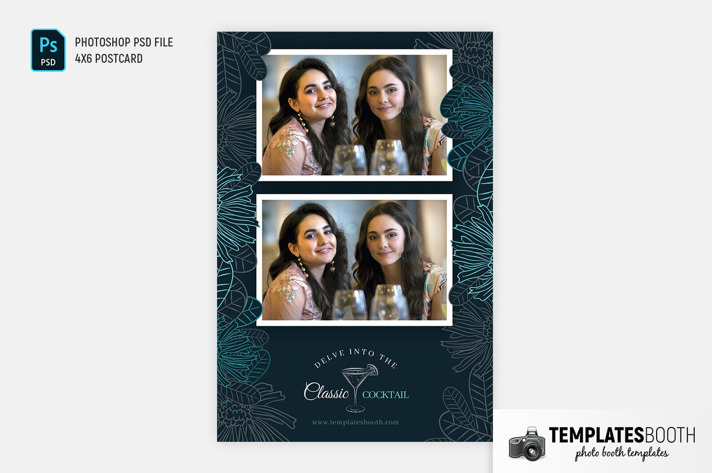 Cocktail Bar Photo Booth Template (4x6 postcard portrait)