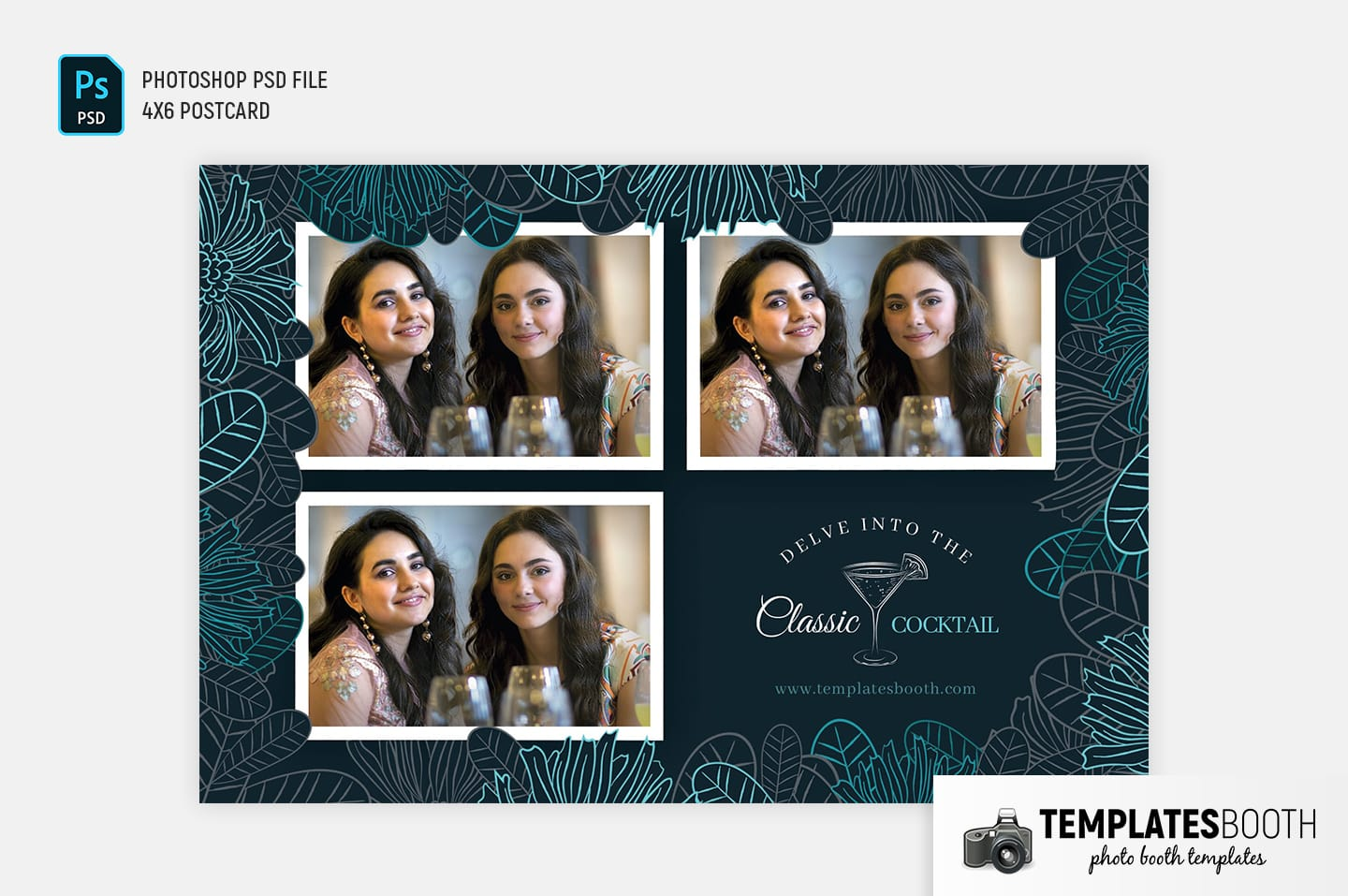 Cocktail Bar Photo Booth Template (4x6 postcard landscape)