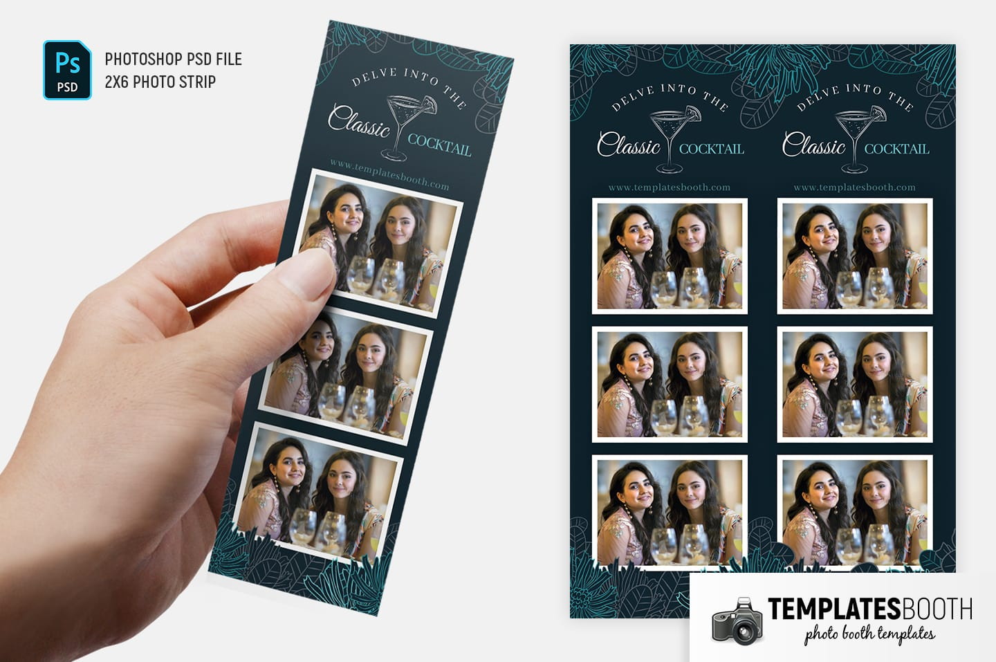Cocktail Bar Photo Booth Template (2x6 photo strip)