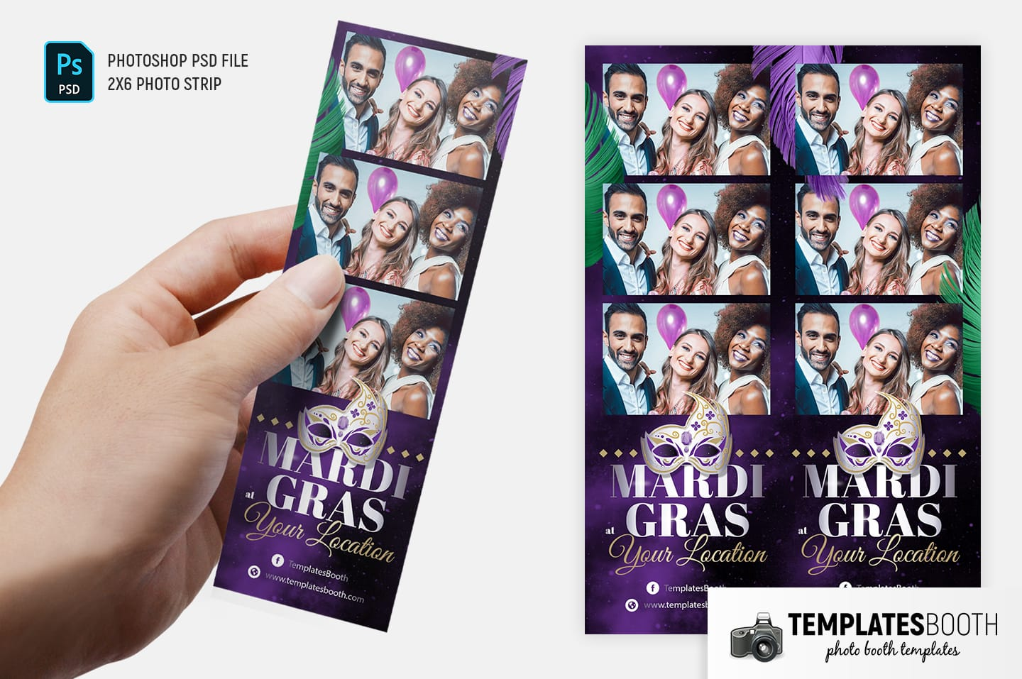 Mardi Gras Photo Booth Template (2x6 photo strip)