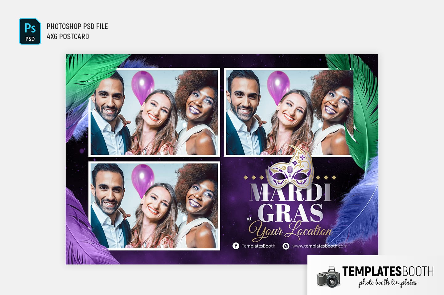Mardi Gras Photo Booth Template (4x6 postcard landscape)