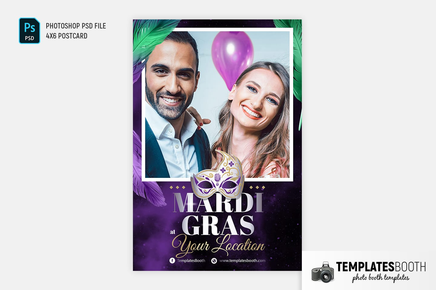 Mardi Gras Photo Booth Template (4x6 postcard)