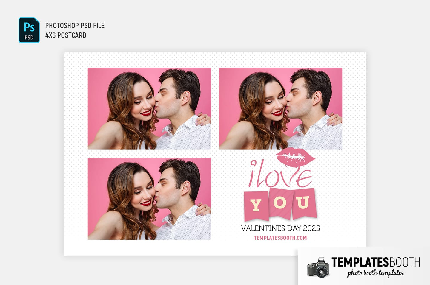 Valentines Kiss Photo Booth Template (4x6 postcard)
