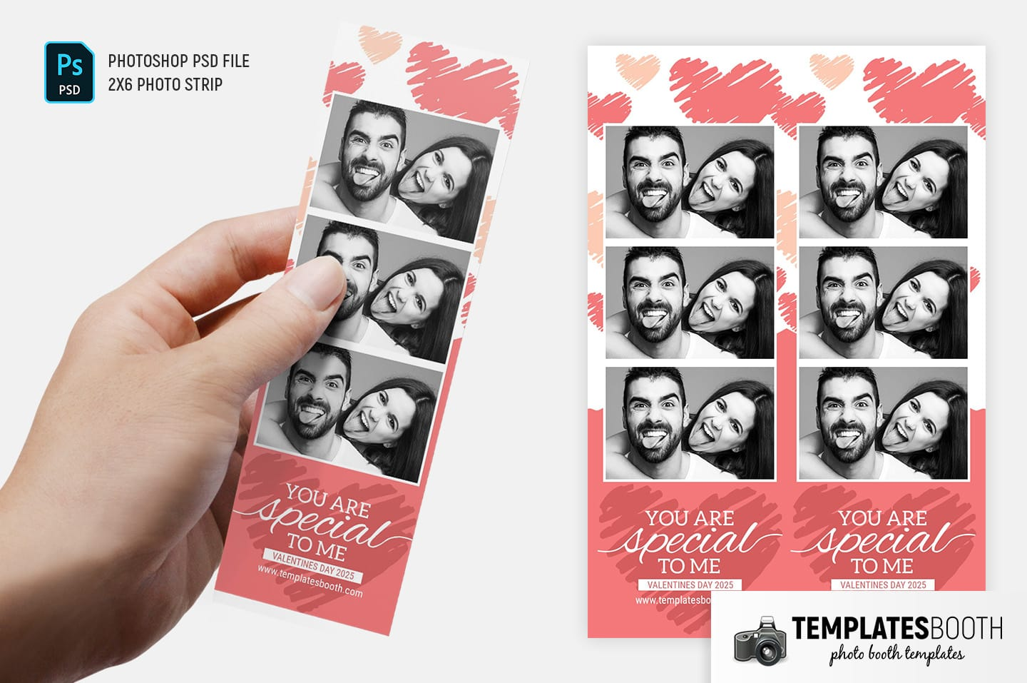 Valentine's Day Photo Booth Template (2x6 photo strip)