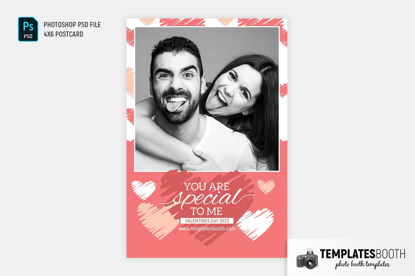 Valentine's Day Photo Booth Template (centre postcard)