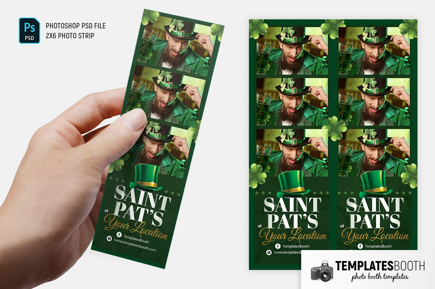 "Saint Patrick's Day Photo Booth Template (2x6"" photo strip)"