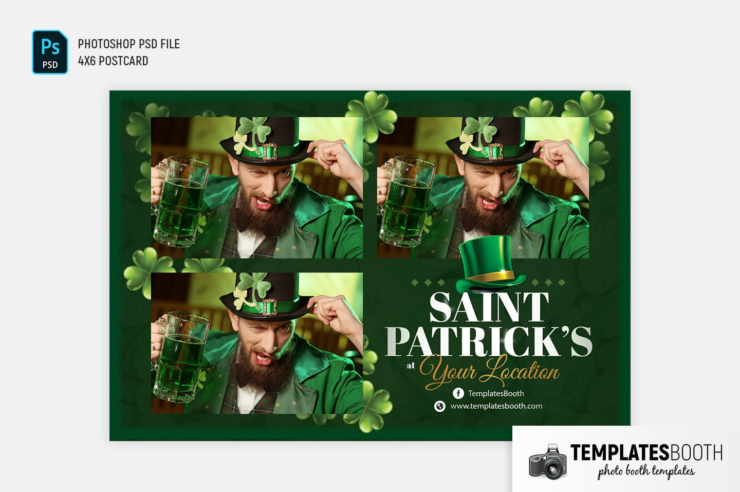 Saint Patrick's Day Photo Booth Template (landscape postcard)