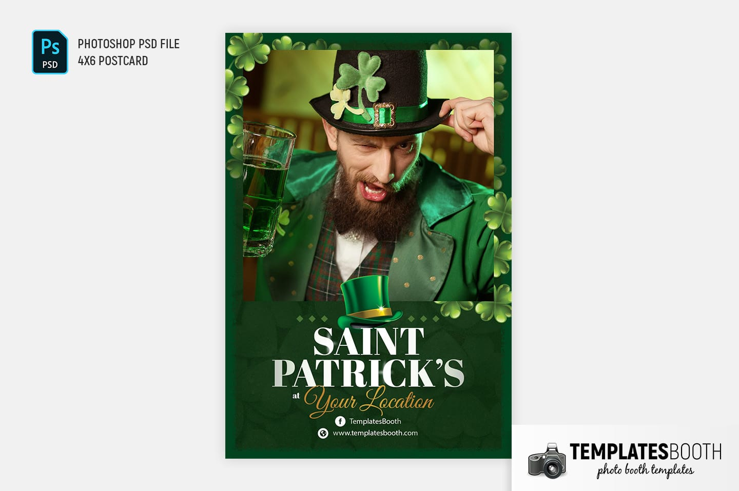 "Saint Patrick's Day Photo Booth Template (4x6"" postcard)"