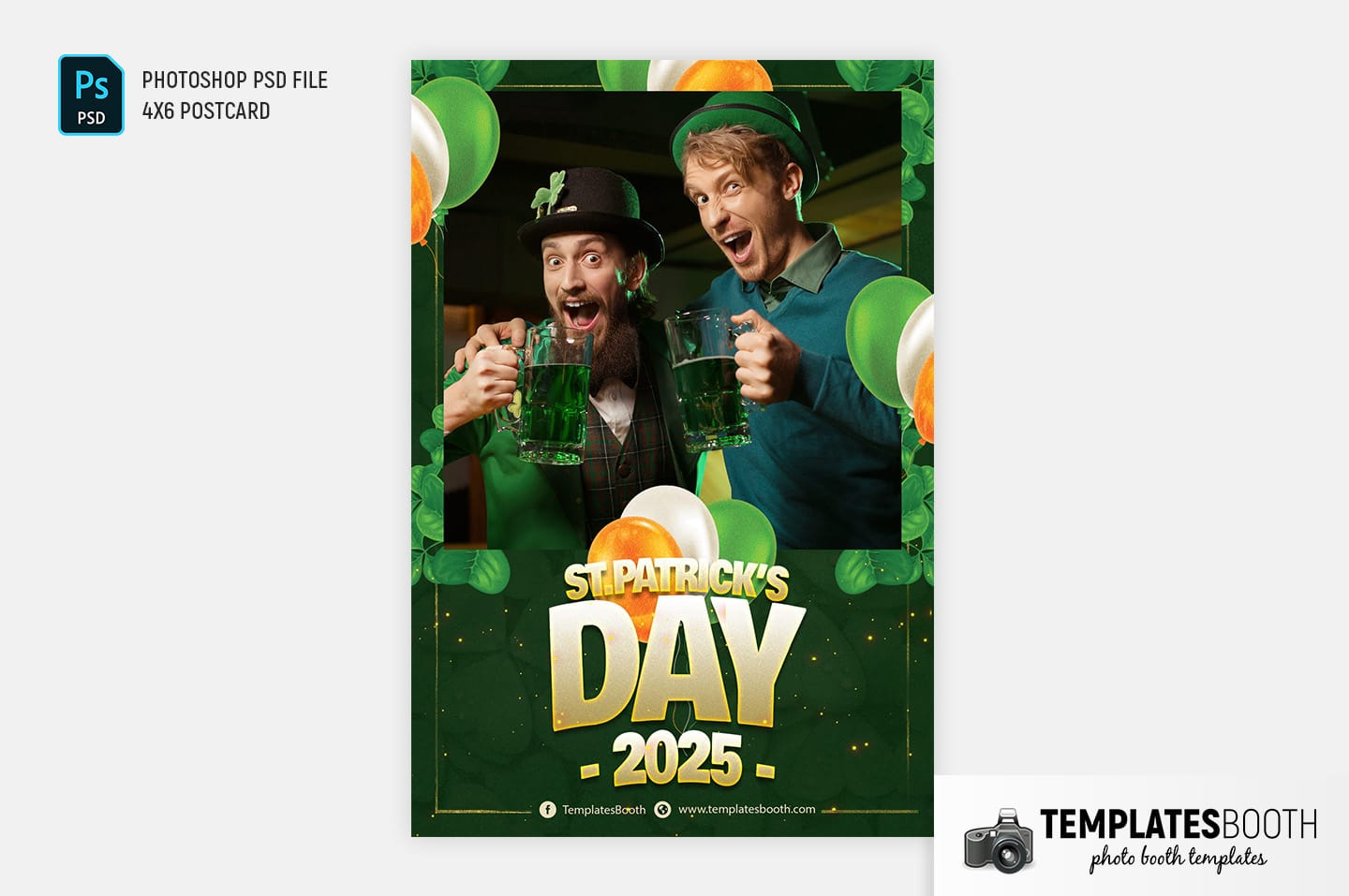 St. Patrick's Day Photo Booth Template (4x6 postcard)