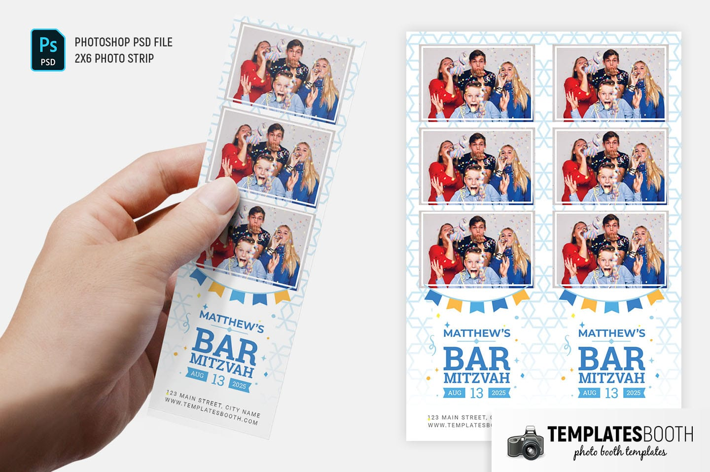 Bar Mitzvah Photo Booth Template (2x6 photo strip)