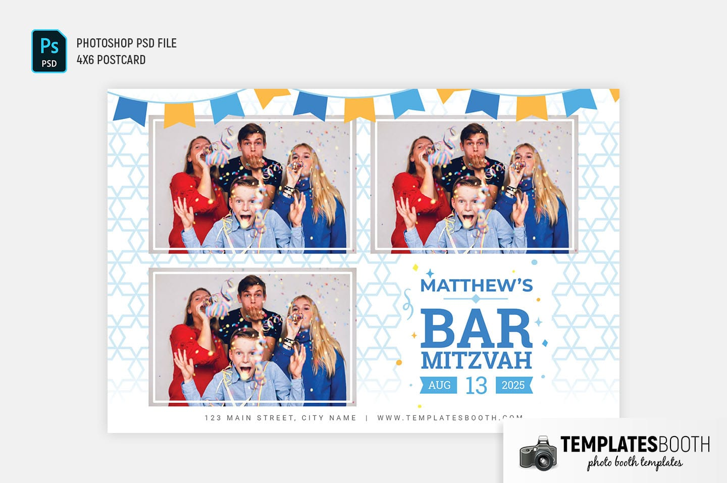 Bar Mitzvah Photo Booth Template (4x6 postcard landscape)