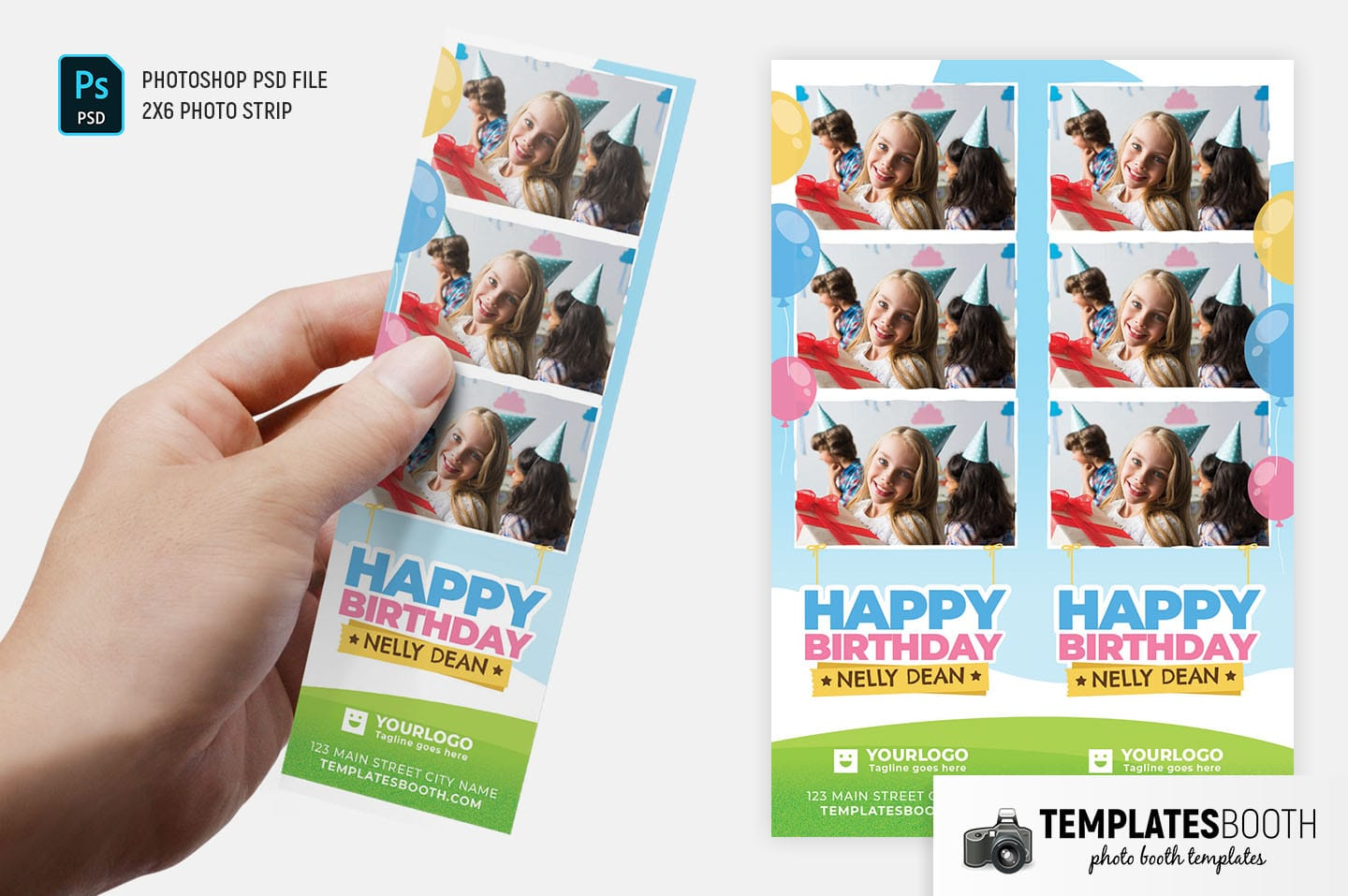Happy Birthday Photo Booth Template (2x6 Photo Strip)