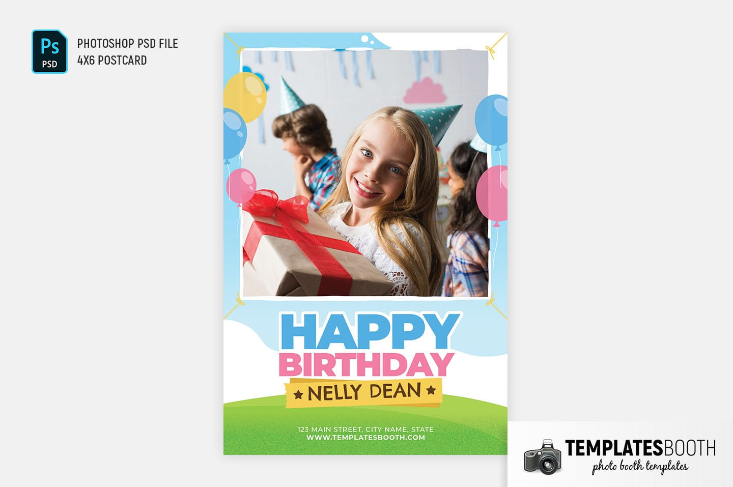 Happy Birthday Photo Booth Template (4x6 Postcard)