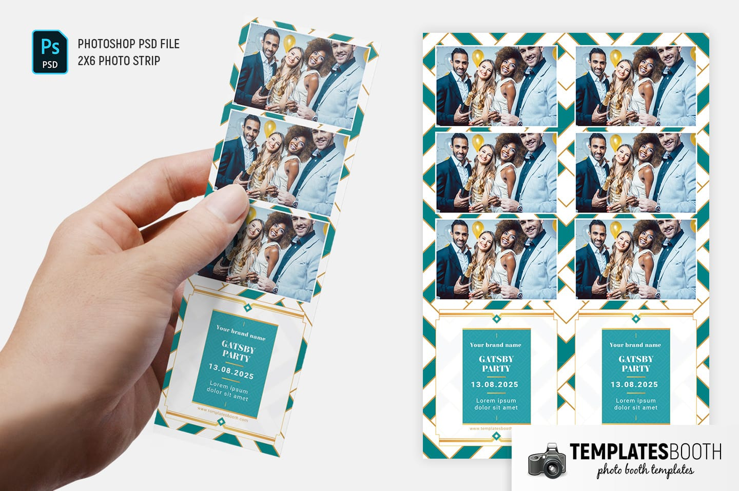 Turquoise Glamour Photo Booth Template (2x6 photo strip)