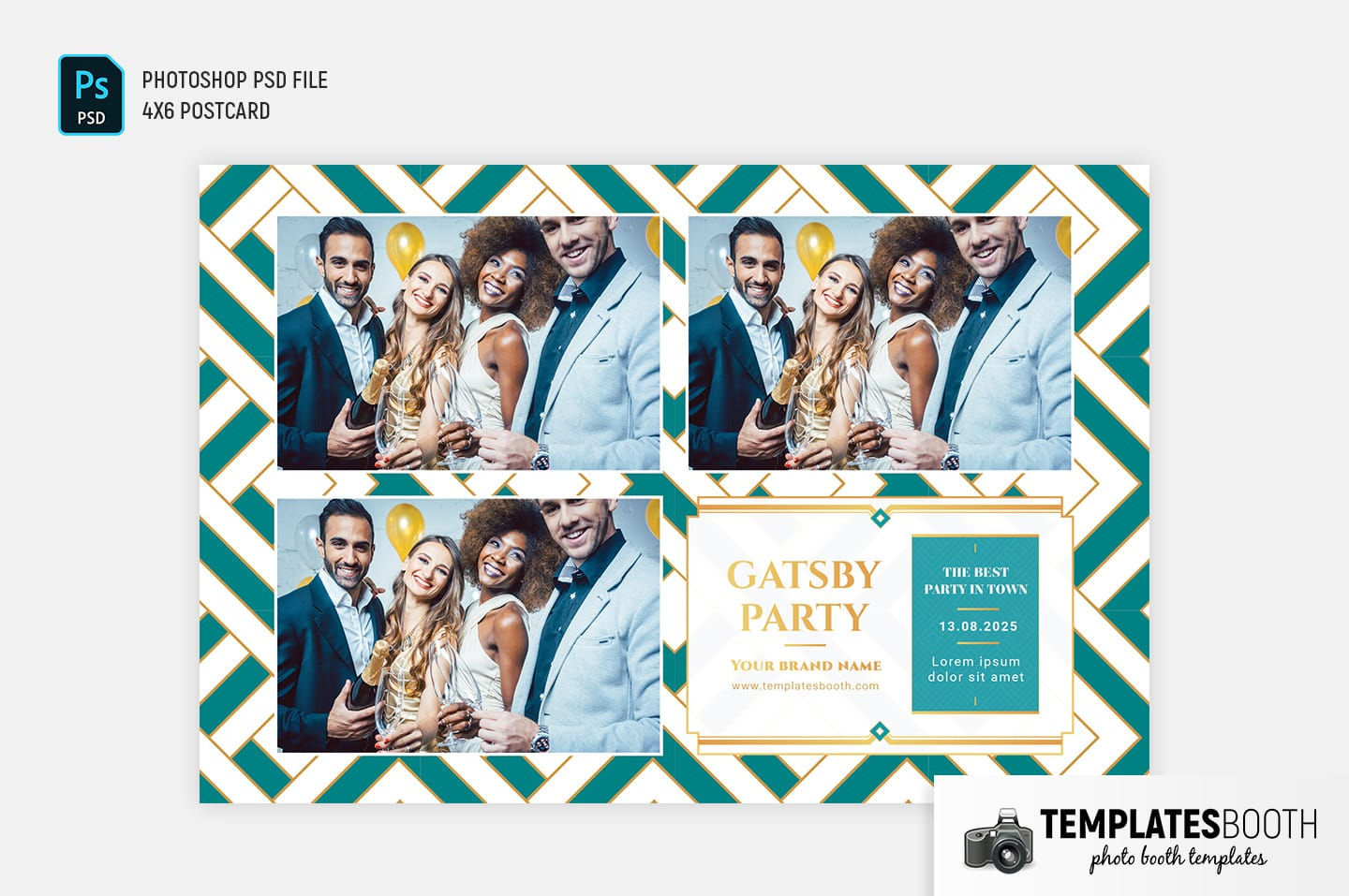 Turquoise Glamour Photo Booth Template (4x6 landscape)