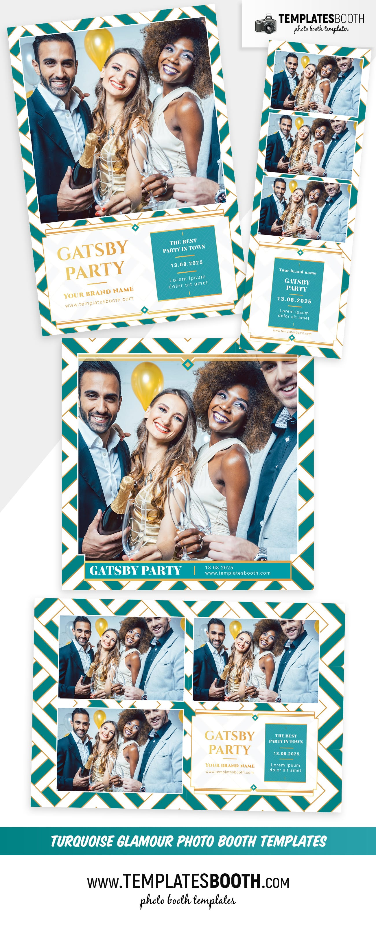 Turquoise Glamour Photo Booth Template (Full Preview)