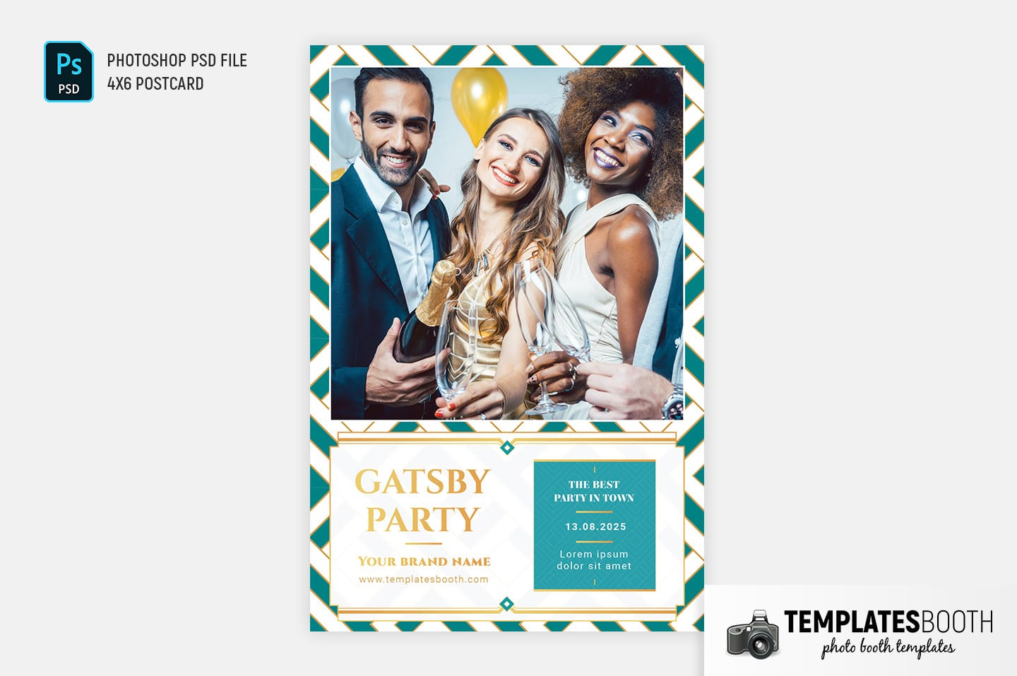 Turquoise Glamour Photo Booth Template (4x6 Single Image)
