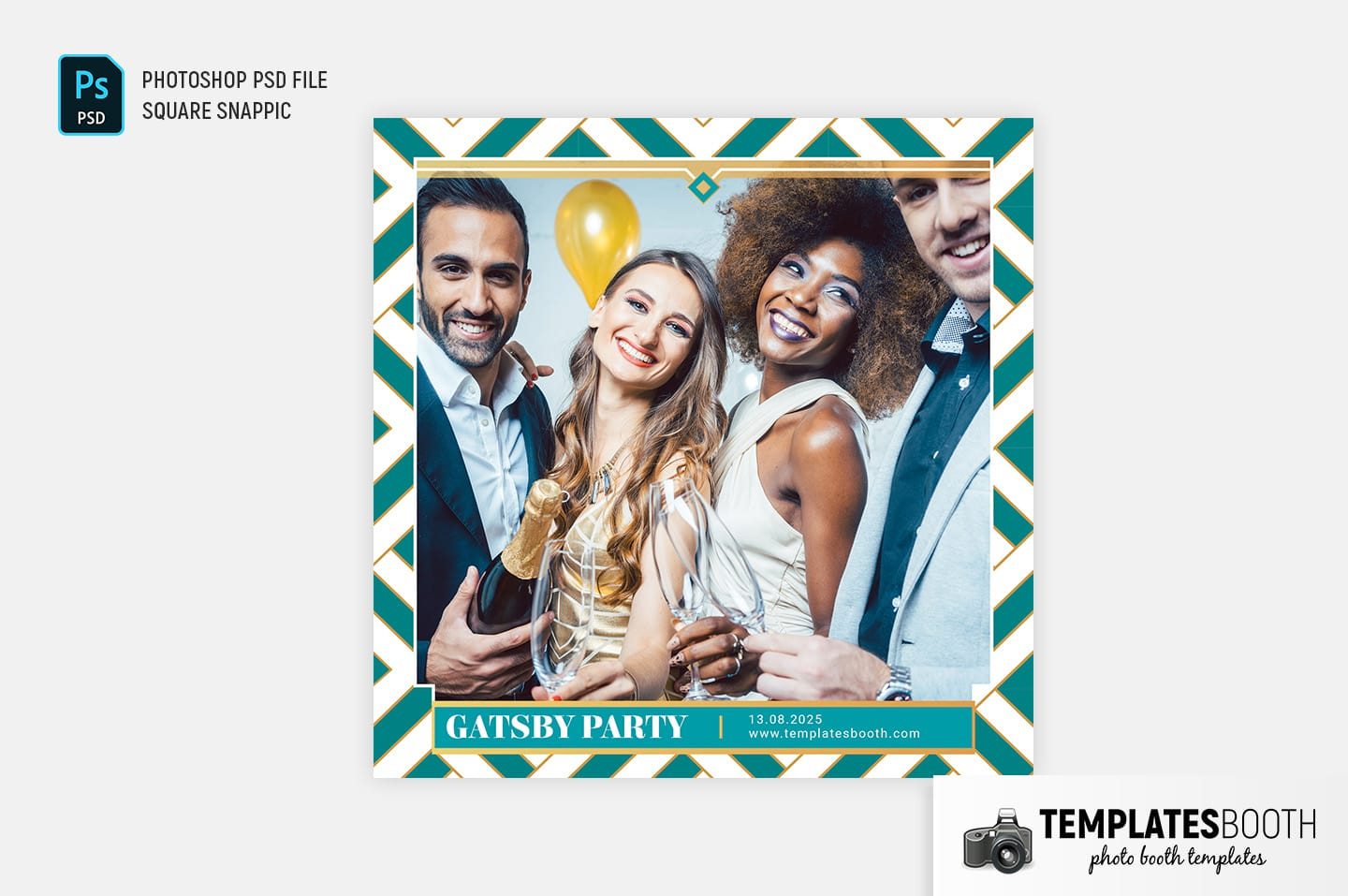 Turquoise Glamour Photo Booth Template (Snappic)