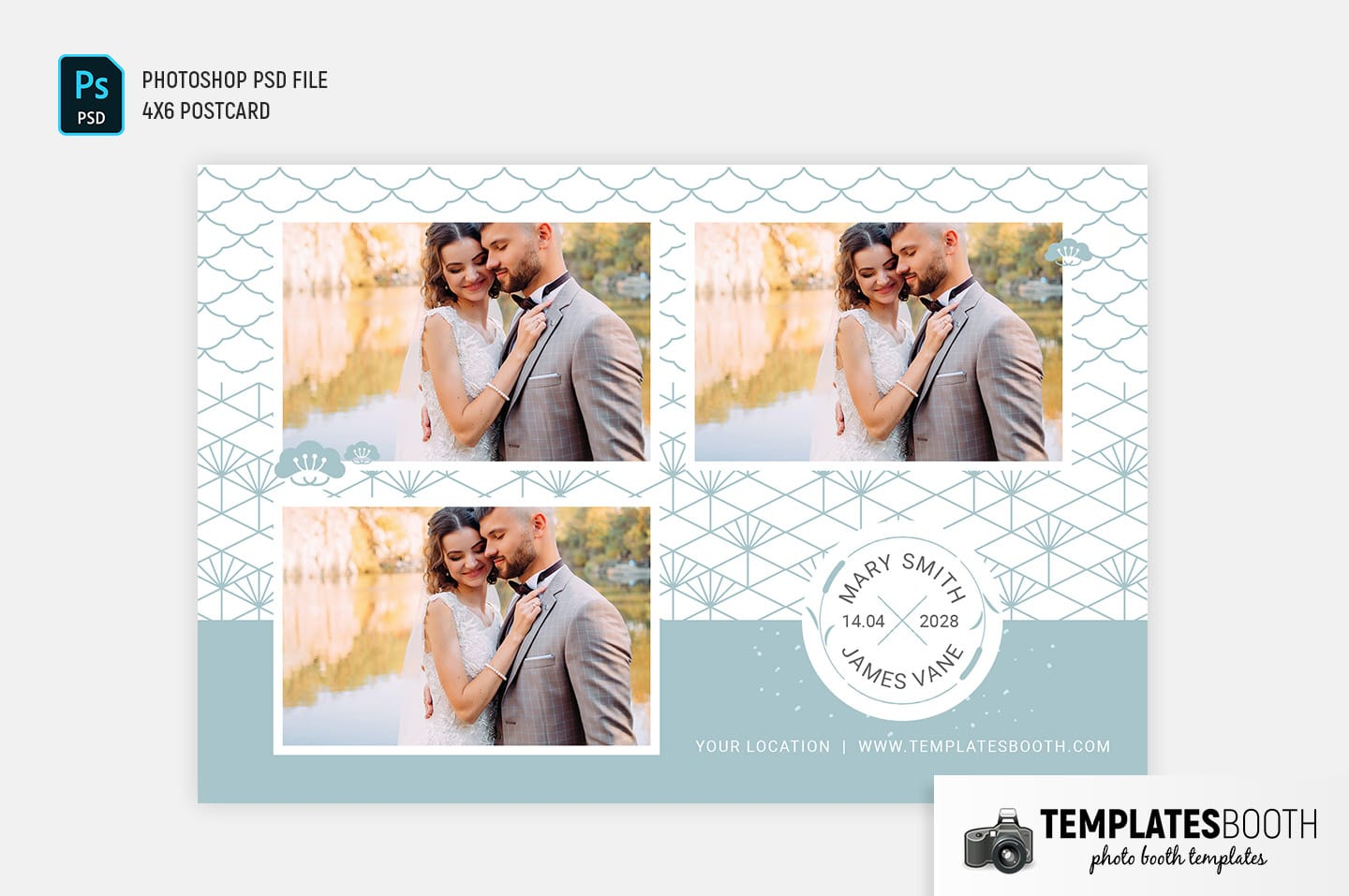 Blue Pattern Wedding Photo Booth Template