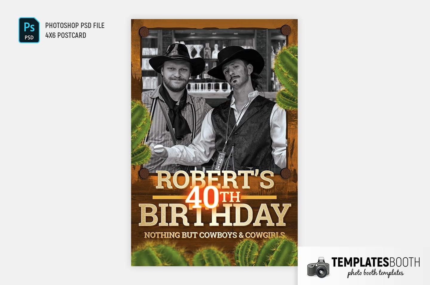 Country & Western Photo Booth Template (4x6 postcard portrait)