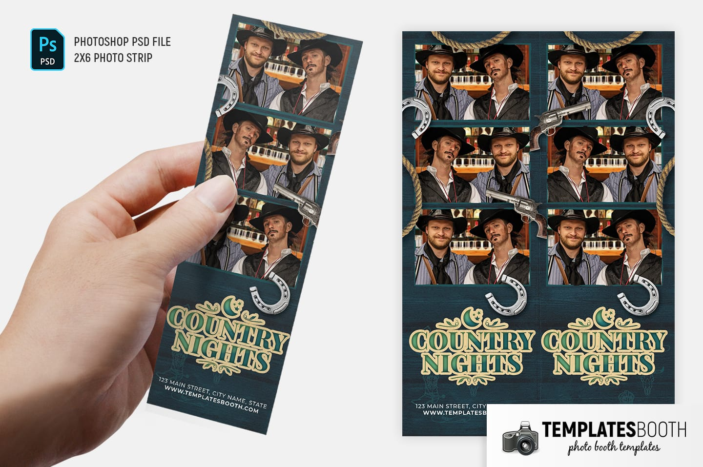 Country Nights Photo Booth Template (2x6 photo strip)