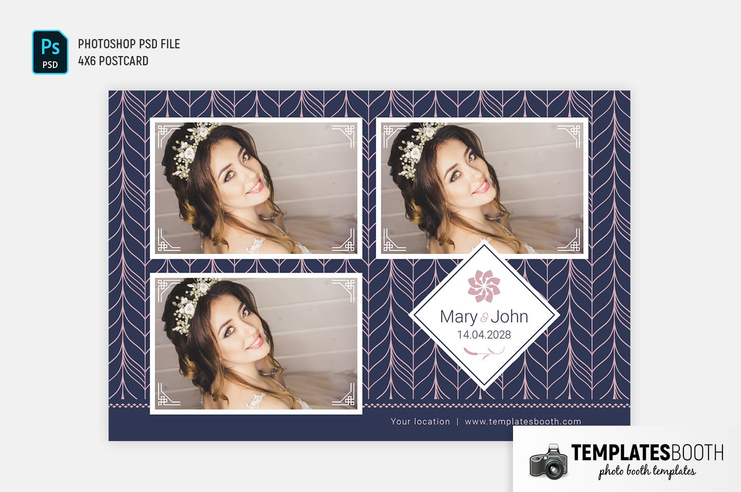 Navy & Pink Photo Booth Template