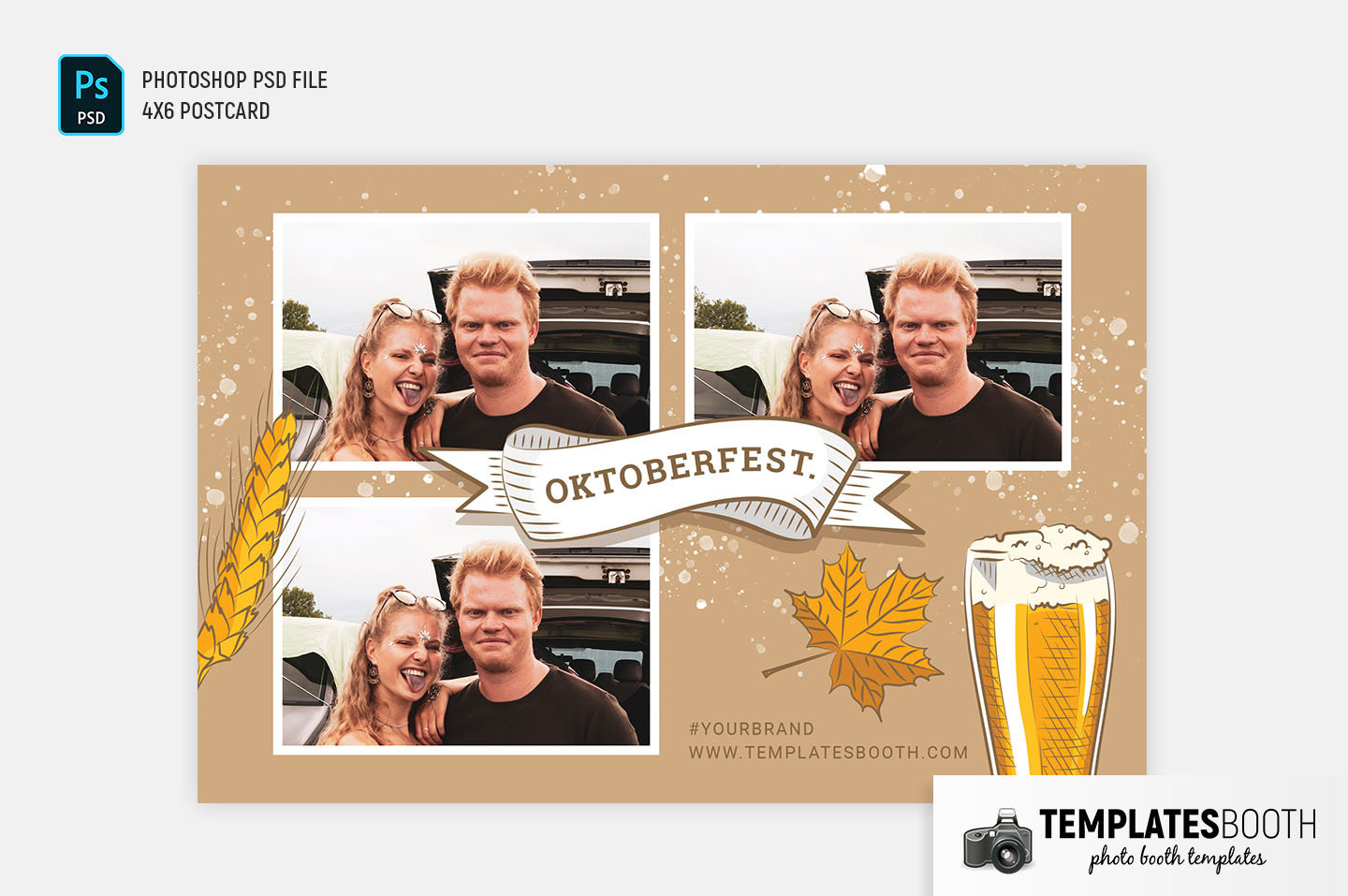 Oktoberfest Photo Booth Template (4x6 Postcard)