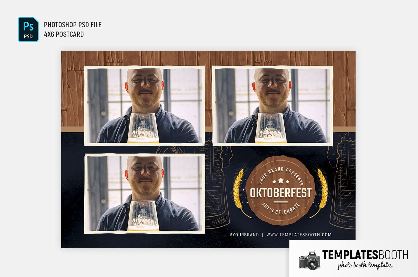Oktoberfest Photo Booth Template (4x6 postcard landscape)