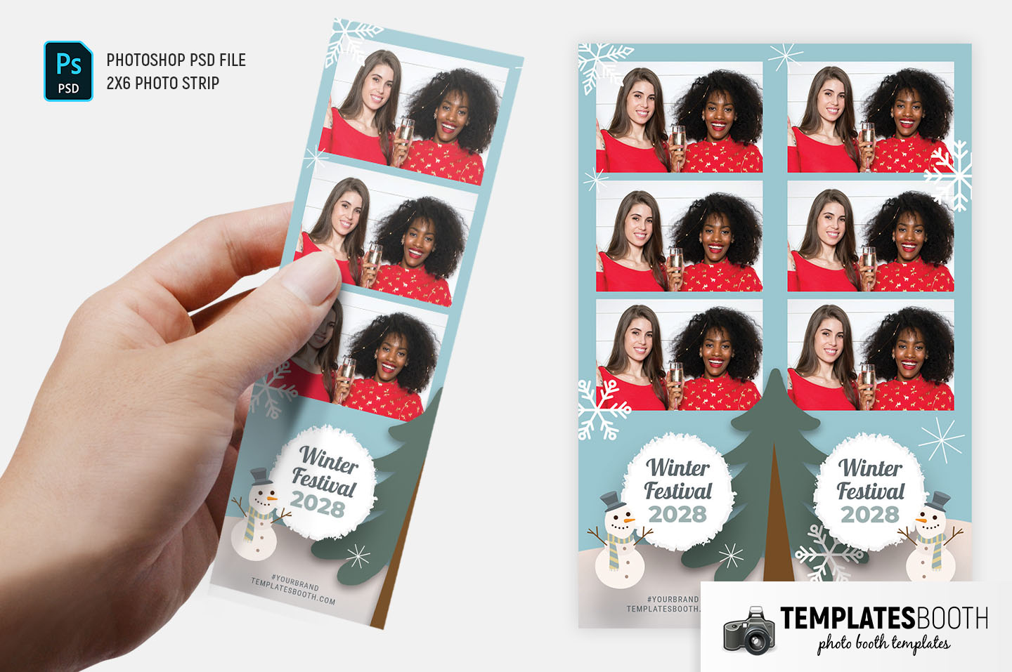 Winter Festival Photo Booth Template (2x6 strip)