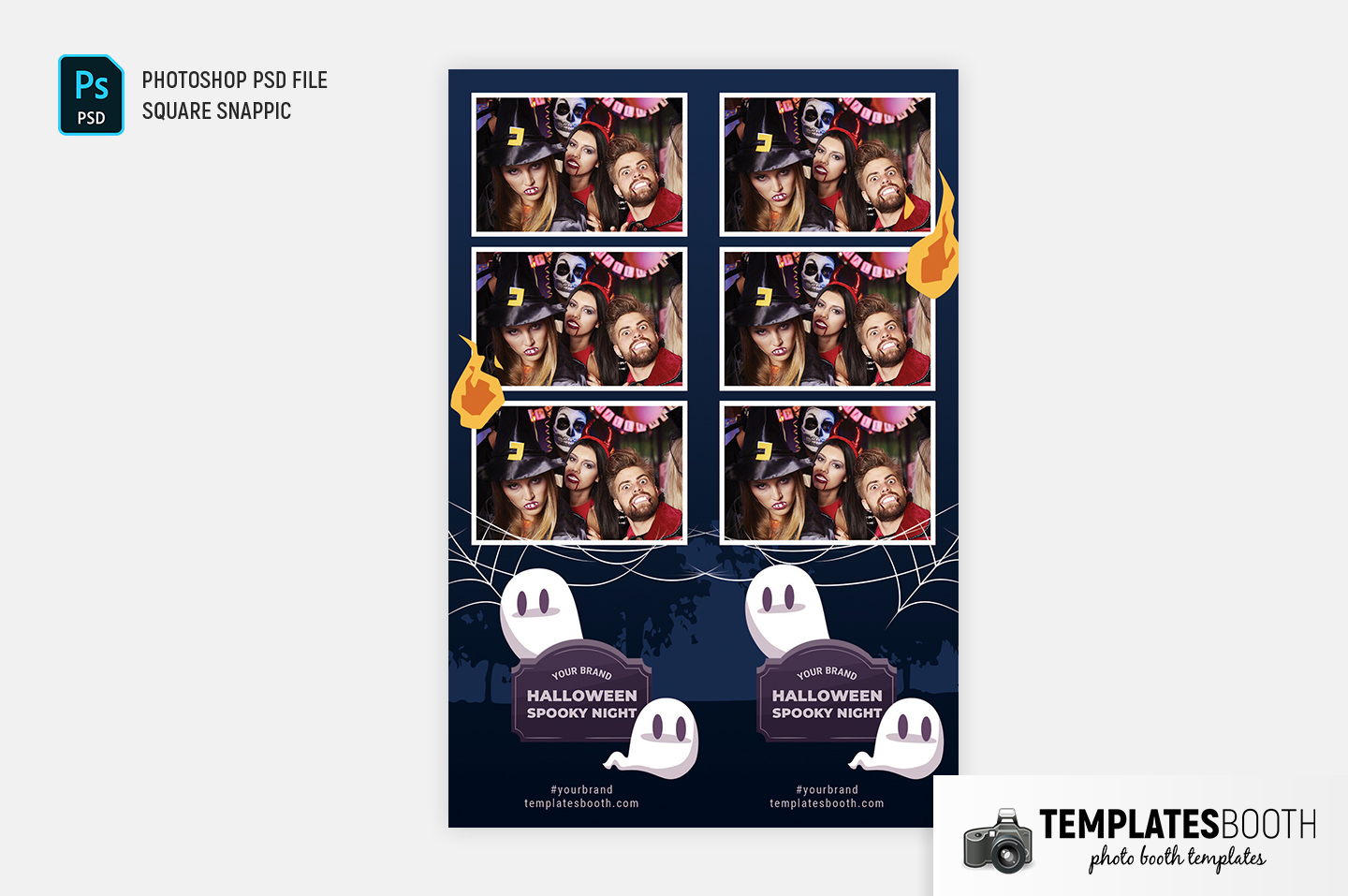 Halloween Spooky Night Photo Booth Template (2x6 photo strip)
