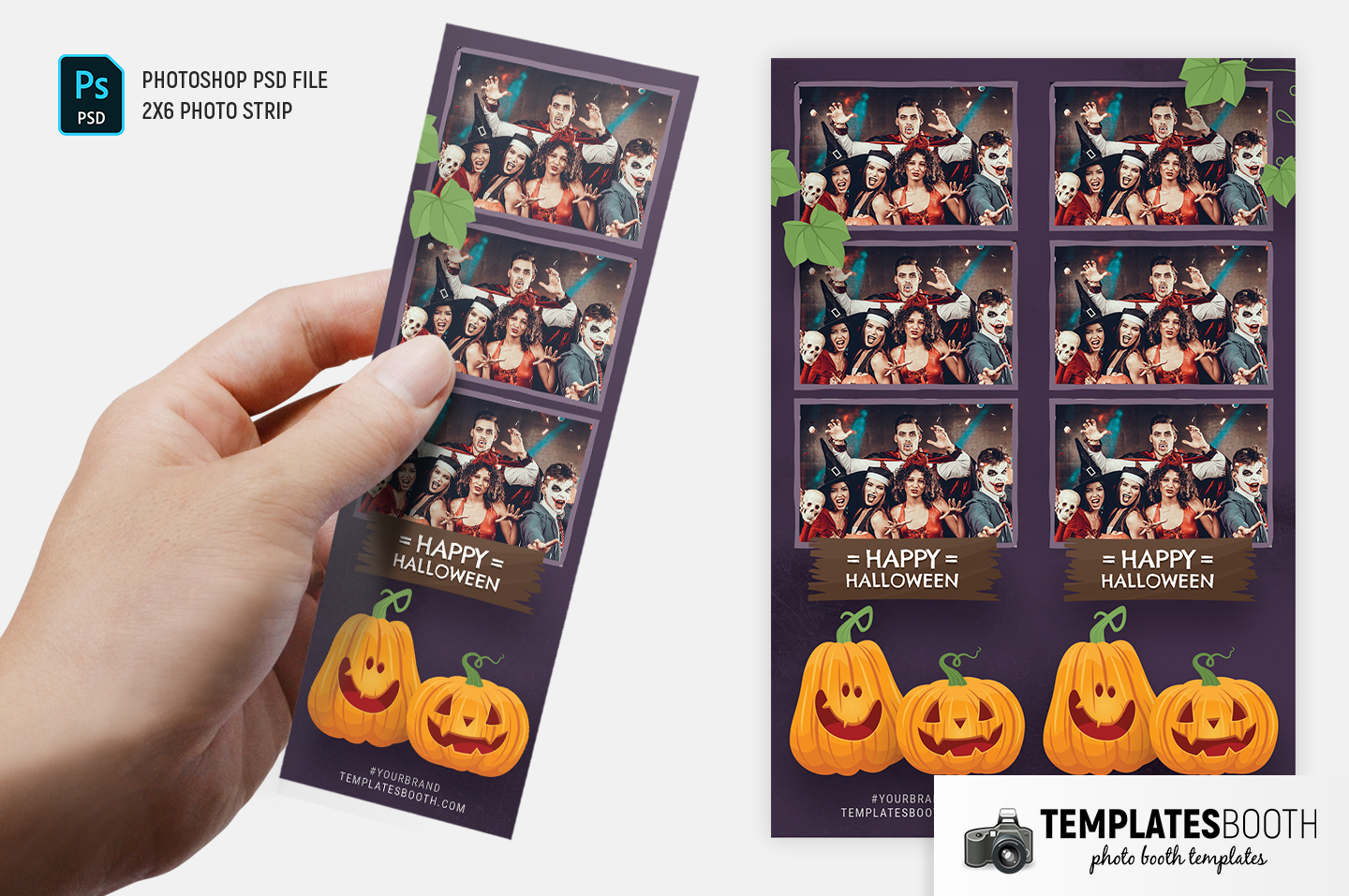 "Purple Halloween Photo Booth Template (2x6"" photo strip)"