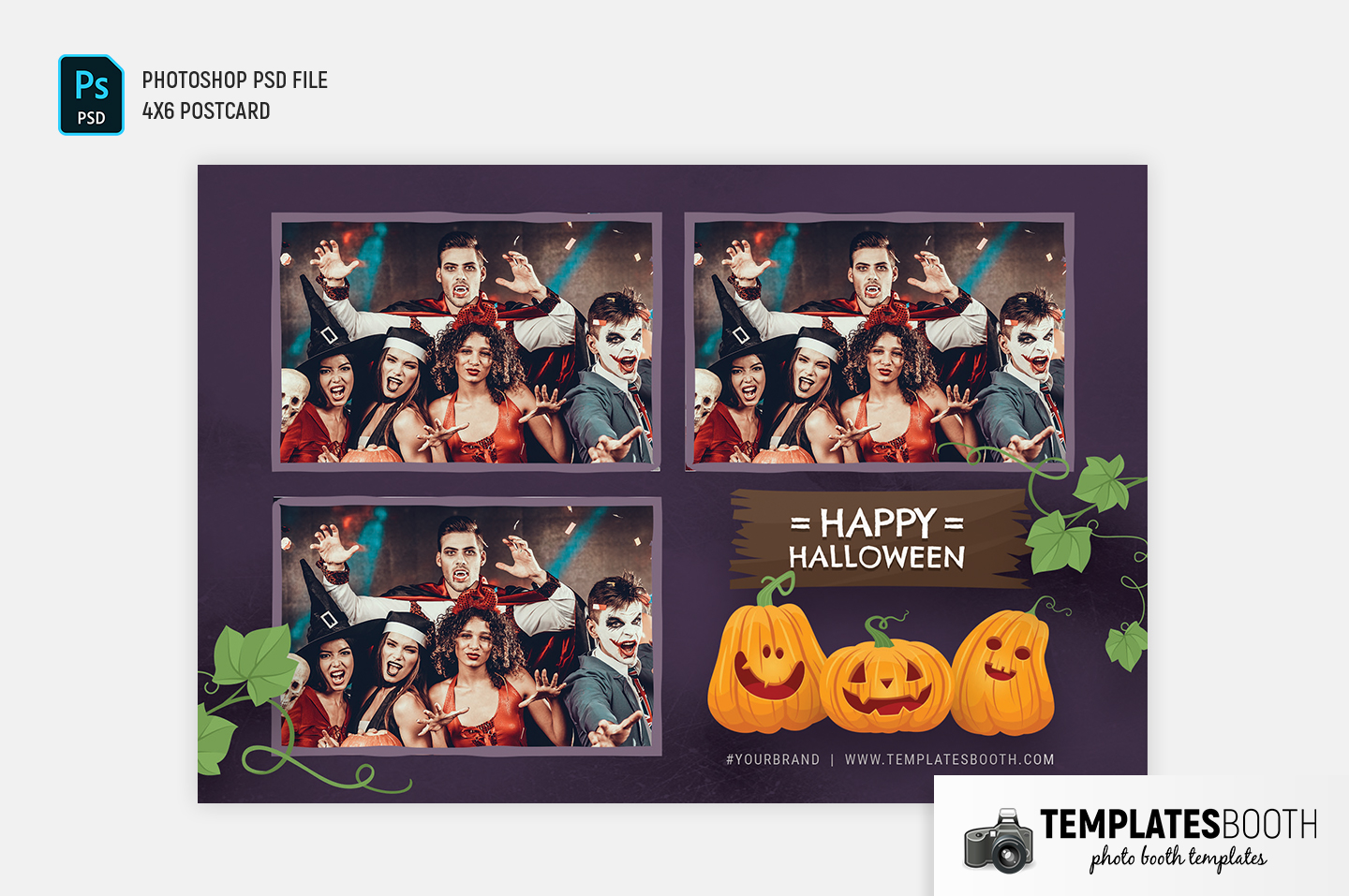 "Purple Halloween Photo Booth Template (4x6"" postcard)"