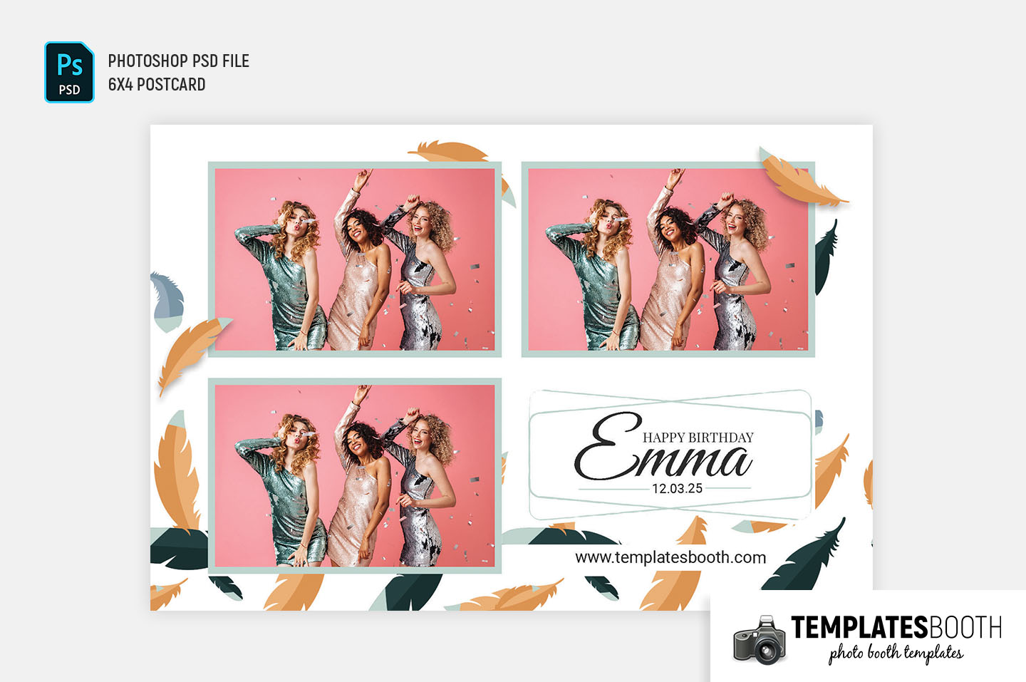 Feathered Birthday Party Photo Booth Template