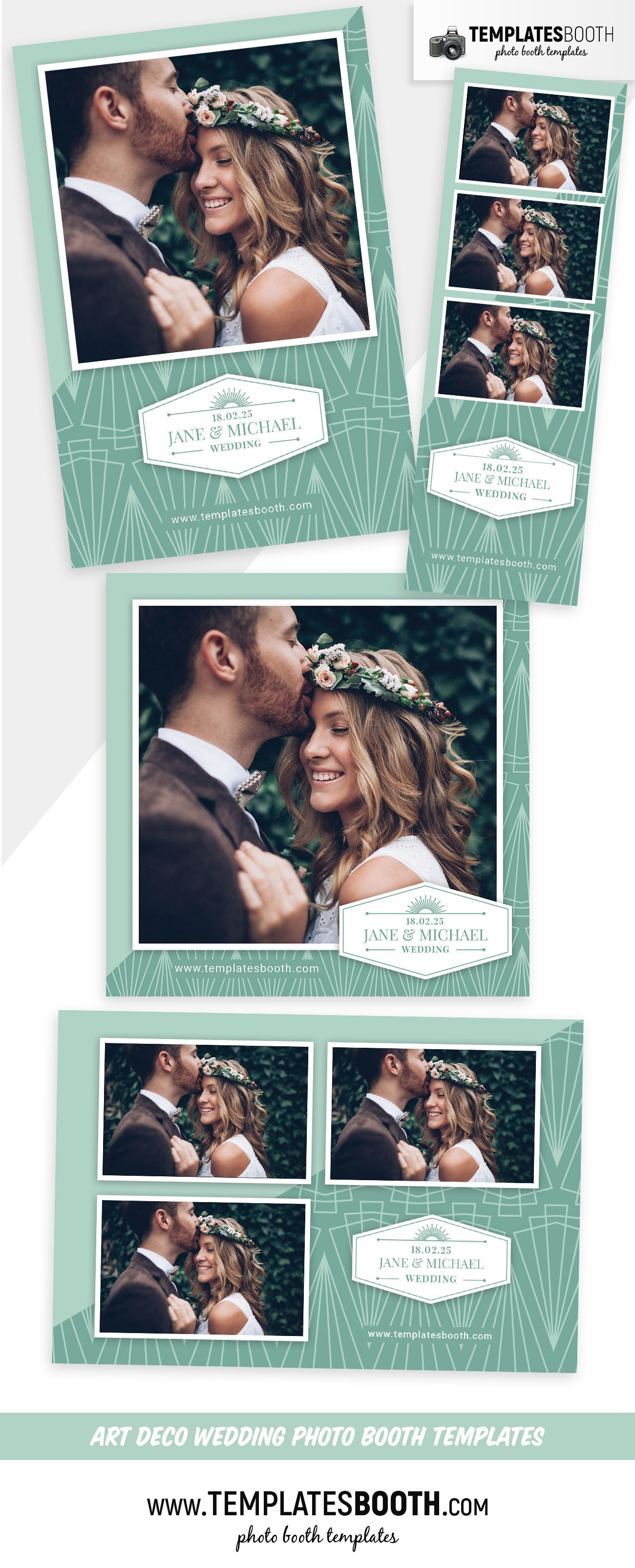 Peppermint Art Deco Wedding Photo Booth Template